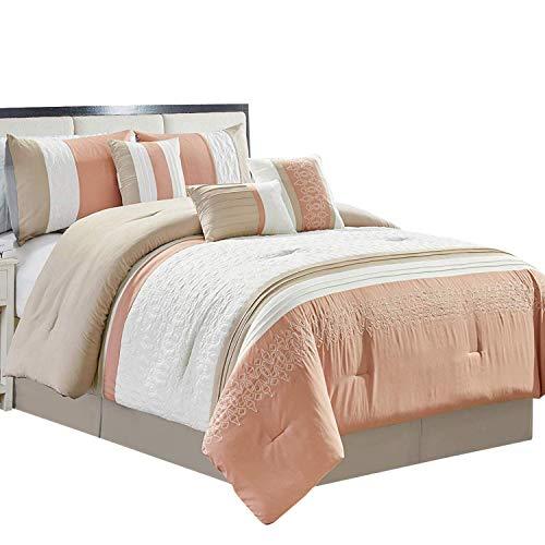 Aurelia Ivory, Blush and Beige Queen size Luxury 7 piece Comforter set includes Comforter, Skirt, Throw Pillows, Pillow ()