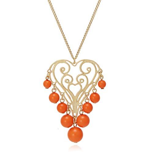 BONALUNA Eternal Love Filigree Heart Shape Pendant with Beads Ball Tassel Long Statement Necklaces for ()