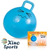 XinoSports Hopping Ball for Kids - Teenagers and Adults, Offers Hours of Incredible Fun for Boys and Girls, Amazing Space Hopper Ball, Safe and Durable Jumping Ball with Handle, 22 Inch Diameter