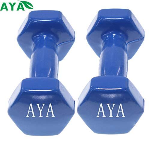 🥇 AYA Set de 2 Mancuernas con Revestimiento de Vinilo | Ejercicio Fitness | Entrenamiento en Casa | Gimnasio | Pesos de 0.5 a 5 Kg