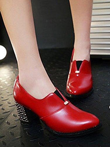 On Classique Slip Femme Moyen Escarpins Bloc Aisun Rouge Talon IYqX5aww