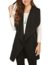 Womens Long Sweater Vests Lapel Open Front Sleeveless Cardigan Coat with Pockets