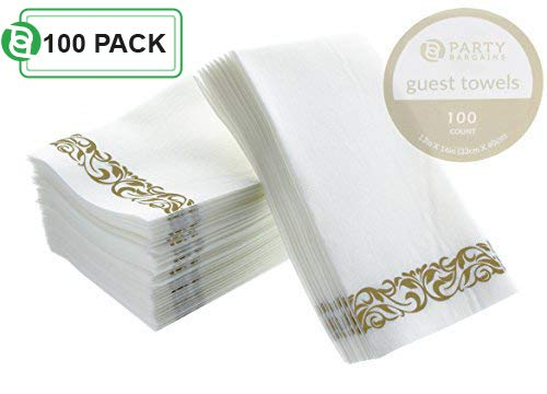 Napkin Cocktail Paper Monogrammed - Party Bargains Disposable Linen-feel Paper Guest Towels | Durable & Decorative Cloth-like Soft Bathroom Hand Napkins for Dinner, Wedding or Cocktail Party | White & Gold 100 Count