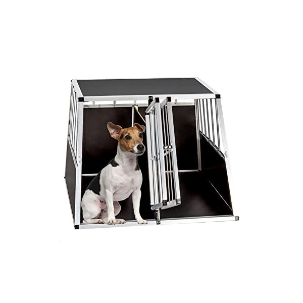 Dog Cage, Aluminum Car Dog Cage Travel Car Crate Puppy Transport Pet Carrier WarmieHomy(104 x 91x 70cm) 4