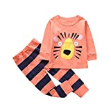 AutumnFall Baby Kids Toddler Girls Boys Cartoon Printed Tops Pants Leggings Outfits Clothes Set (4T, Orange)