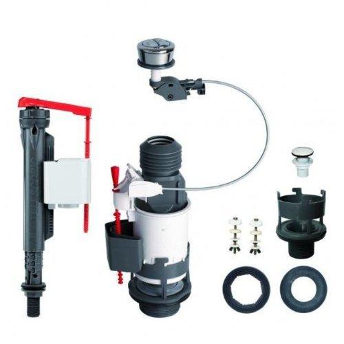 Wirquin Cable Jollyflush Pro funciona con salida dual universal Retrete cisterna Kit CW botó n de presió n cromado 14010402