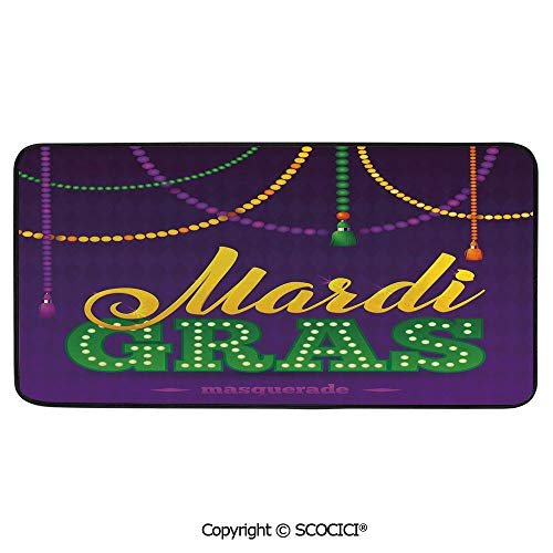 Soft Long Rug Rectangular Area mat for Bedroom Baby Room Decor Round Playhouse Carpet,Mardi Gras,Beads and Tassels Masquerade Theme Calligraphy Design Fun,39