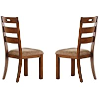Homelegance Homelegance Clayton Set of 2 Ladder Back Dining Chairs with Cushioned Seat, Burnished Oak
