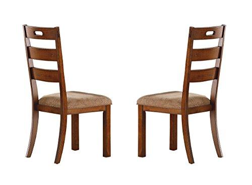 Homelegance Clayton Set of 2 Ladder Back Dining Chairs with Cushioned Seat, Burnished Oak (Light Oak Ladder)