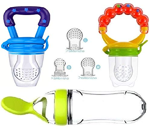 Baby Food Feeder, Pacifier Fruit- Fresh silicone Bottle Squeeze Spoon Frozen fruit Teething Pacifiers Nibbler Hygienic Cover Newborn Teeth with Meshes Sizes Solid Nipple for Baby Food Dispensing Spoon