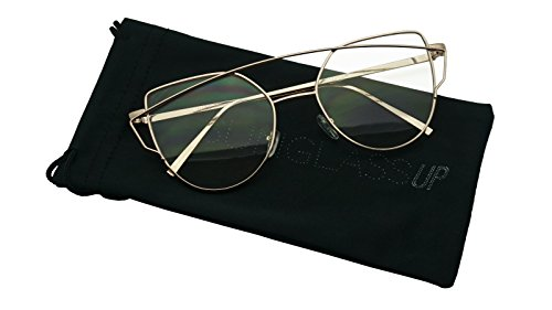 Women's Metal Round Cross Bar Open Temple Cat Eye Aviator Flat Lens Glasses (Gold, - Sunglasses Kds