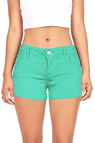 Celebrity Pink Women's Juniors Casual Cuffed Design Shorts (9, Jade) by Celebrity Pink