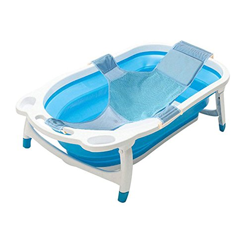 Kidsmile Baby Portable Collapsible Bathing Tub Bathtub with Non-Slip Mat, Foldable Shower Basin with Infant Sling, Comfort Folding Baby