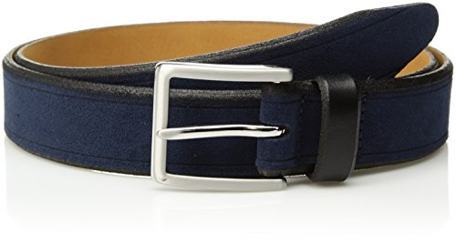 Circa Men's Handcrafted Genuine Italian Suede Belt, Navy Blue size (Reversible Suede Belt)