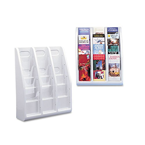 Deflecto 52809 Multi-tiered leaflet holder, 12 pockets, 15-3/4w x 5d x 19-3/4h, gray plastic