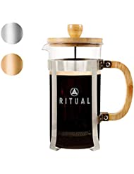 Ritual French Coffee Press, Bamboo Wood, Borosilicate Glass, and Stainless Steel, Coffee & Tea Maker with Bonus Filter 36oz/1000ml