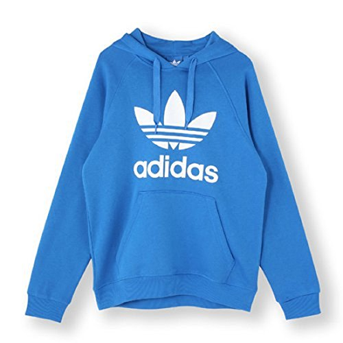 (adidas Originals Boys' Active Trefoil Hoodie, Medium Blue, Large)