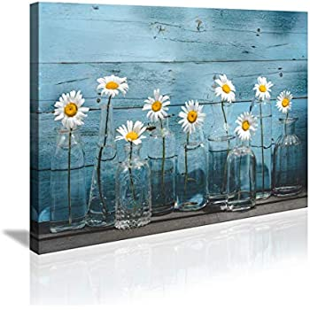 Bathroom Decor 1 Panel Vintage Flower Blue Wooden Board Canvas Wall Art for Home Office Decoration Modern Floral Canvas Artwork Daisy Flower Vase Picture Giclee Print on Wall Decor Ready to Hang