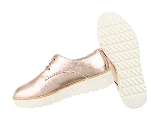 Damen Halbschuhe Schuhe Schnürer Elegant Rosa Gold Pink Schwarz Silber Weiß 36 37 38 39 40 41 Rosa