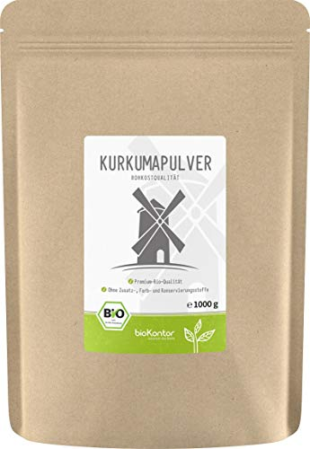 BIO Kurkuma Pulver gemahlen 1000g / 1 kg | Kurkumapulver - Curcuma - Curcumin | 100% naturrein | Rohkostqualität | aus Indien von bioKontor