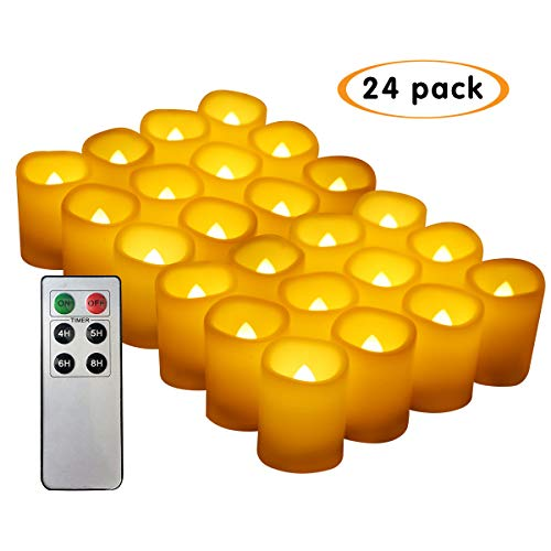 Bnlingxian Flameless Flickering Votive Candles with Remote,Electric Decorative LED Candles Set of 24 by Bnlingxian