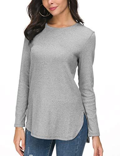 Herou Women's Fall Round Neck Long Sleeve Pullover Tunic Tops with Side Split (Grey, Medium)