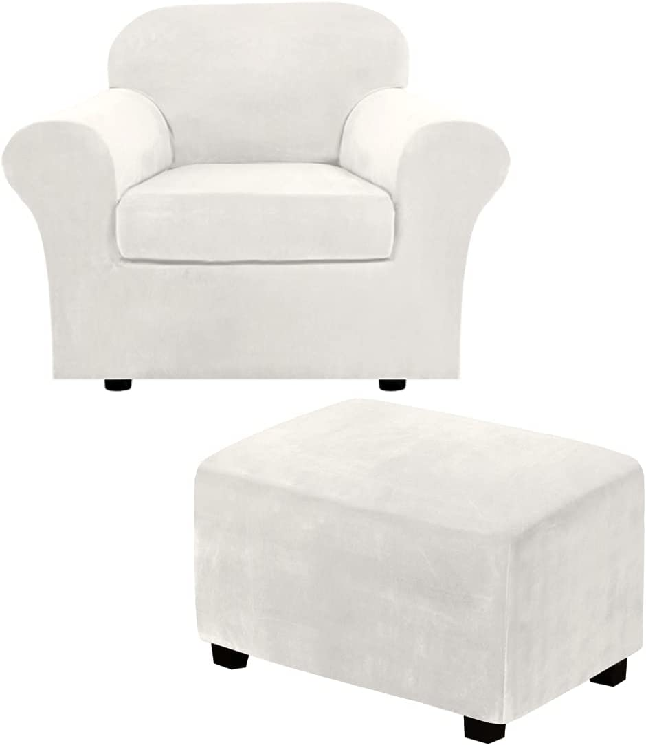 2 Piece Chair Cover Chair Slipcover Bundles Large Size Velvet Plush Ottoman Slipcovers(Large, Off White)