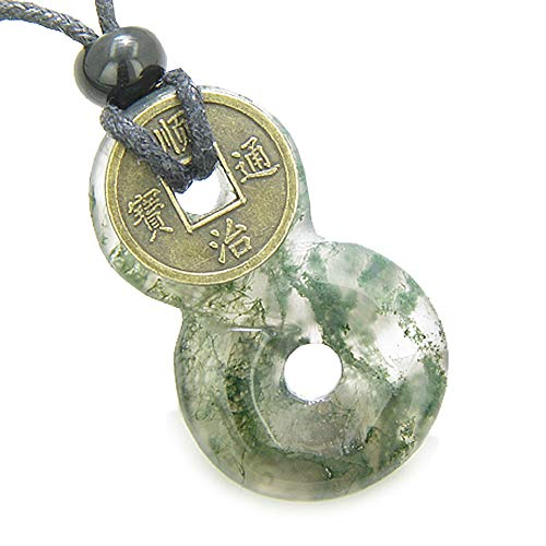 (Infinity Magic Knot Lucky Coin and Good Luck Amulet Moss Agate Gemstone Pendant Necklace)