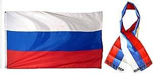 """Al por mayor Combo Set Rusia Rusia República país 3x 53'x5' bandera y 8""""x60"""" bufanda resistente a la decoloración doble cosido Premium banderín casa bandera ojales"""