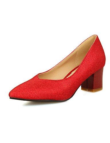 GGX/ Damen-High Heels-Büro / Lässig-PU-Blockabsatz-Spitzschuh / Komfort-Blau / Rosa / Rot / Silber / Gold red-us6 / eu36 / uk4 / cn36