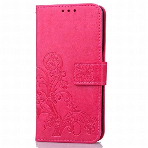 Yiizy Huawei P9 Plus / VIE-L09 / VIE-L29 Custodia Cover, Tre Foglia Erba Design Sottile Flip Portafoglio PU Pelle Cuoio Copertura Shell Case Slot Schede Cavalletto Stile Libro Bumper Protettivo Borsa
