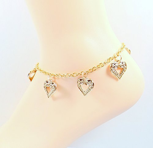 gold with to lovebling beauty heart yellow cut adjustable anklet puff pendants shop chain diamond rolo