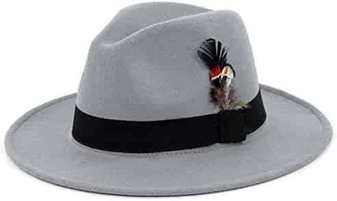a6f23ee6d98f4b Unisex Felt Fedora Hats Panama Classic Structured Black Band with Feather