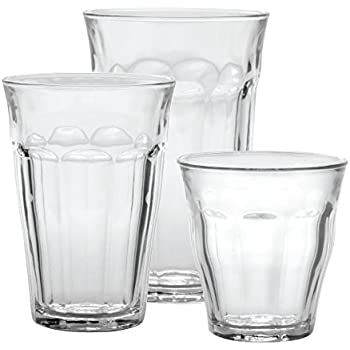Duralex Made In France Picardie 18-Piece Clear Drinking Glasses & Tumbler Set: Set includes: (6) 8-3/4 oz, (6) 12 -5/8 oz, (6) 16-7/8 oz