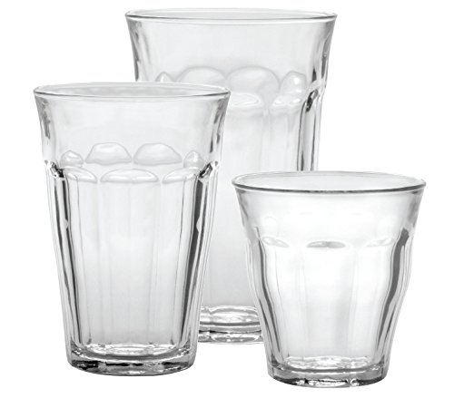 - Duralex CC1/18 Made In France Picardie 18-Piece Clear Drinking Glasses & Tumbler Set: Set includes: (6) 8-3/4 oz, (6) 12-5/8 oz, (6) 16-7/8 oz