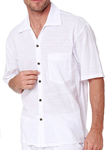 Men's Natural Cotton Button Down Shirt White Short Sleeves Casual Lightweight Pima Cotton Shirt (White, XX-Large) (Wear For Beach Men)