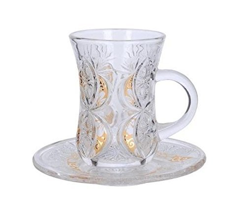 Cup & Saucer Set Turkish Tea Coffee Glass Gold Color Design 12 Pieces