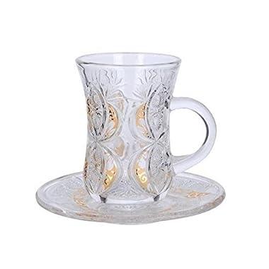 Cup & Saucer Set Turkish Tea Coffee Glass Gold Color Design 12 Pieces
