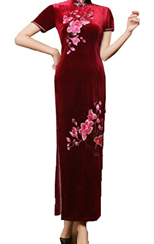 7 Collar Cheongsam Slit Stand Side Velvet Women High Gold Embroidered Comfy qwFCHfnvq