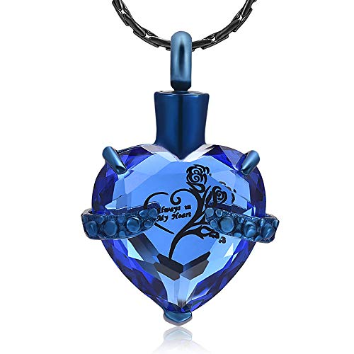 constantlife Crystal Heart Shape Cremation Jewelry Memorial Urn Necklace for Ashes, Stainless Steel Ash Holder Pendant Keepsake with Gift Box Charms Accessories for Women (Blue+Dark Blue)