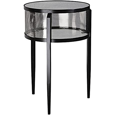Uttermost 24724 Gustav 28 5 Accent Table Aged Black Iron Brushed Nickel Antique Mirror Finish With Clear Glass