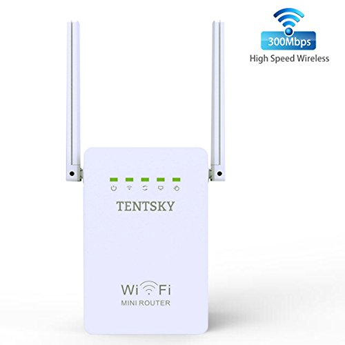 TENTSKY WIFI Extender 300Mbps Mini Wi-Fi Router 2.4GHz Double Antennas Super Repeater With AP/Repeater/Router Modes WEP/WPA/WPA2 Encryption Wireless Network Signal Booster by TENTSKY