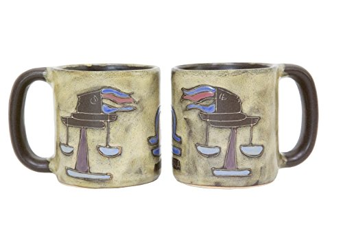 Zodiac Libra Scales (One (1) MARA STONEWARE COLLECTION - 16 Oz Coffee Cup Dinner Mug - Zodiac Sign - Libra The Balance Scales Design)