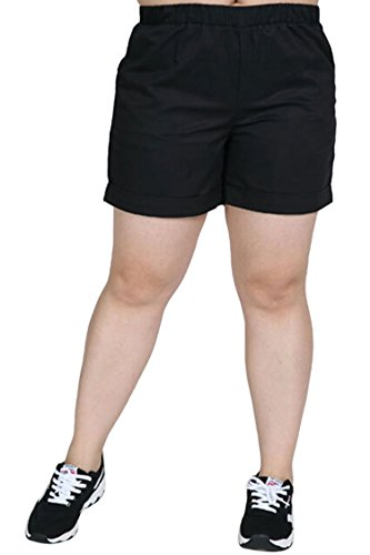Vertiar Women's Casual Plus Size Summer Cuffed Elastic Waist Shorts Pants XL-7XL