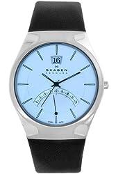 Skagen Men's 668XLSLZI Sports Watch Black Leather Steel Watch