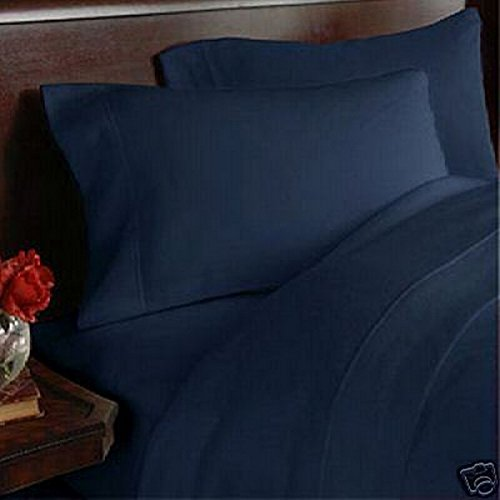 Bed Life Solid Navy Blue - Top / Flat Sheet With Matching Pillow Cases ( Set of 3 Pack ) 500 TC Ultra Soft Sizes ( Full ) Made By Galaxy's Linen