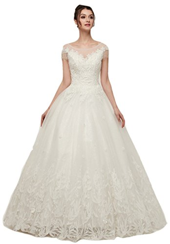Darcy74Dulles Women's Elegant Embroidery Wedding Gown Sexy Scoop Neck Tulle Wedding Dress