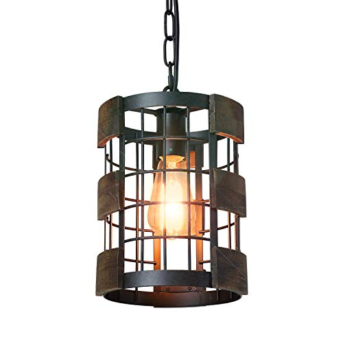 Eumyviv 1 Light Wood Farmhouse Kitchen Pendant Light, 7.8