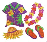 Bulk Roll Prismatic Stickers, Mini Hawaii Shirt / Lei (100 Repeats)