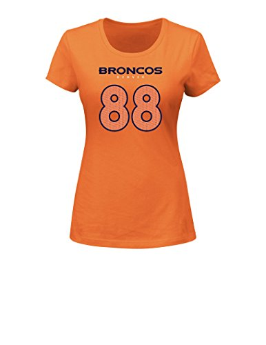 NFL Denver Broncos Demaryius Thomas 88 Women's Her Highlight Player Program Short Sleeve Deep Crew Neck Tee, X-Large, Classic Orange